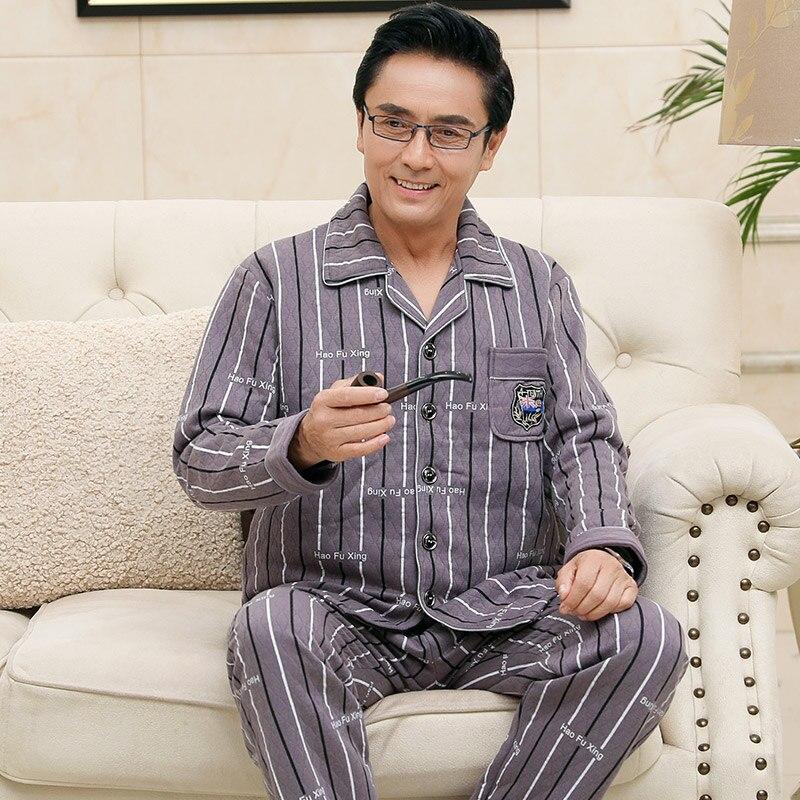 Pijama Men Winter Medium Thick 3 Layer Cotton Pajama Set Big Size Father's Pajamas Long Sleeves Embossing Striped Mens Pajamas