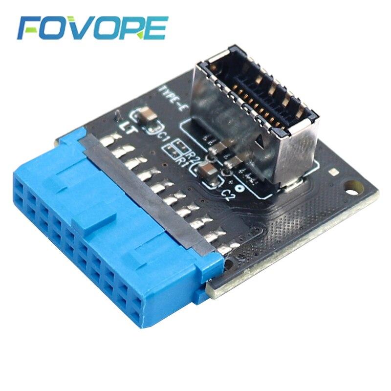 Внутренний штыревой разъем USB 3,0 для USB 3,1/3,2 Type C адаптер переднего типа E 20pin-19pin конвертер для ПК материнская плата Разъем Riser