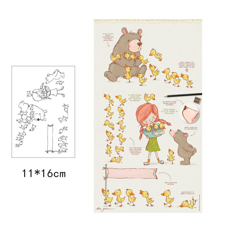 Cute Girl Animals Clear Rubber Stamps Silicone Seal for DIY Scrapbooking Card Making Photo Album Decoration Crafts New Stamps