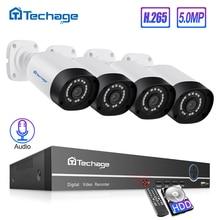 H.265 8ch poe nvr kit 5mp sistema de cctv ir ao ar livre ip66 à prova dwaterproof água 5mp áudio câmera ip p2p onvif vigilância de segurança de vídeo conjunto