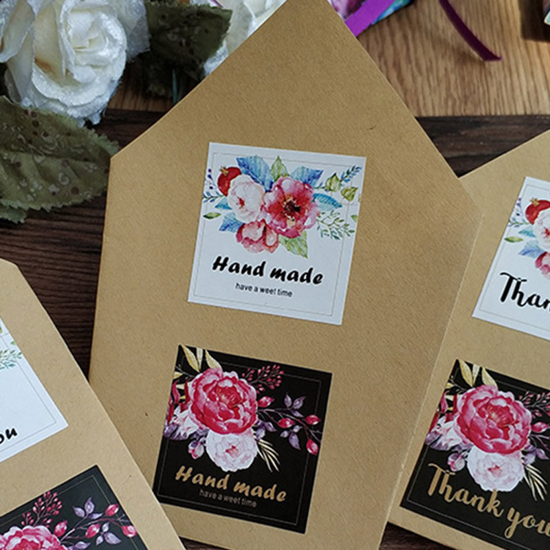 5Sheets=20Pcs Sealing Label Stickers Thank You Adhesive Stickers Handmade Paper Stickers For Gifts Girls Flowers Stickers