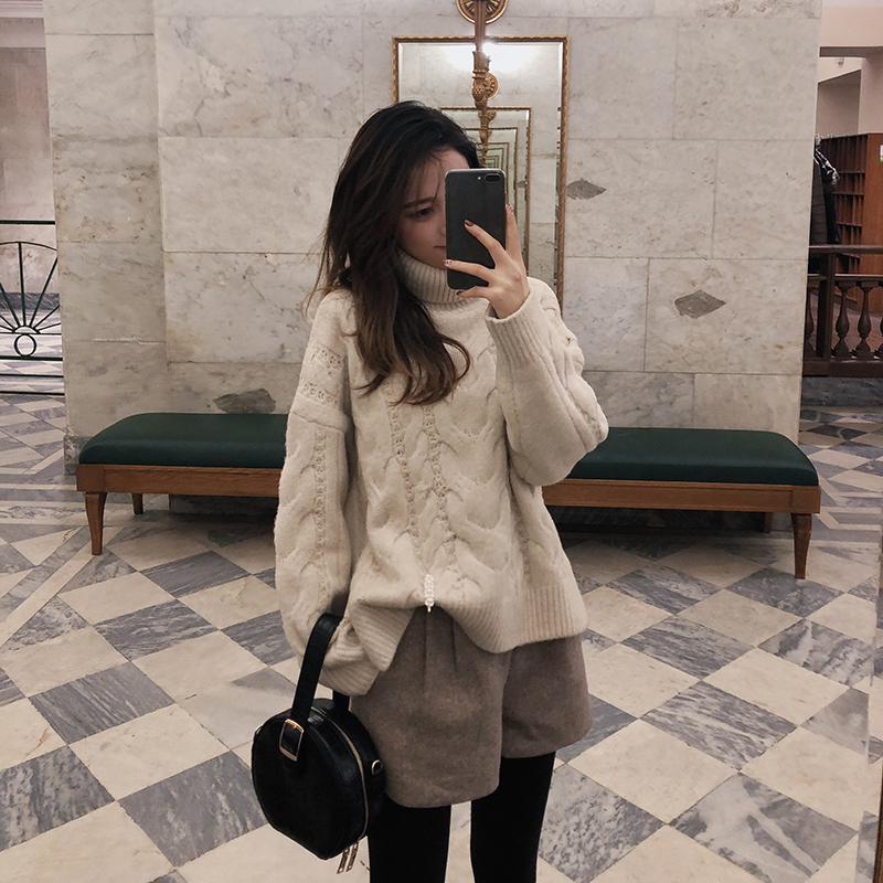 2019 MISHOW Autumn Winter Turtleneck Sweater Women 2019 Loose Twist Pattern Long Sleeve White Pullover Tops MX18D5409