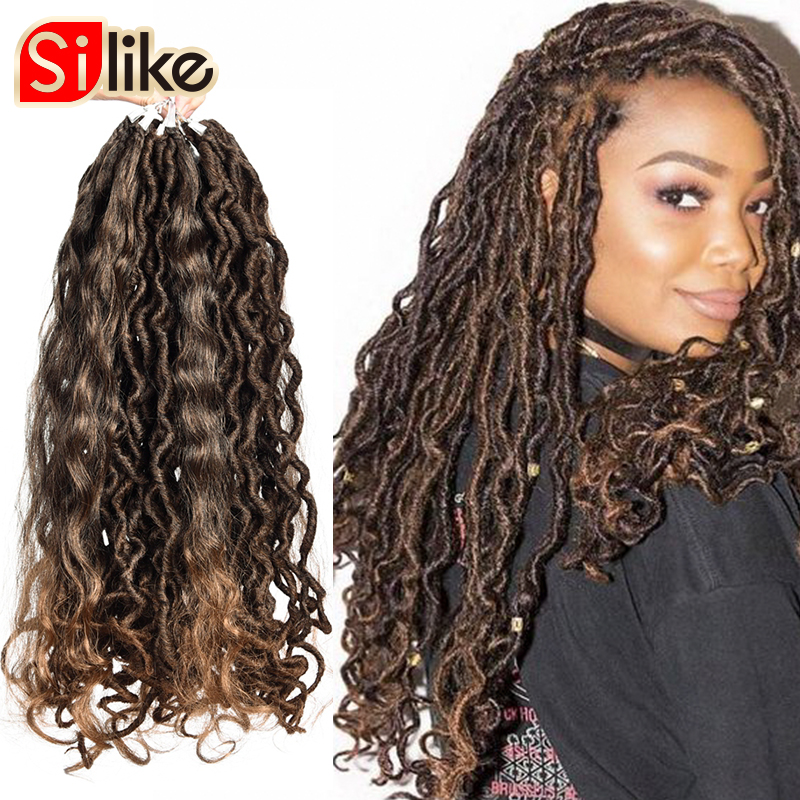 Silike Goddess Faux Locs Crochet Hair 16 Inch Faux Locs With Curl Ends Synthetic Crochet Hair Braids For Black Women