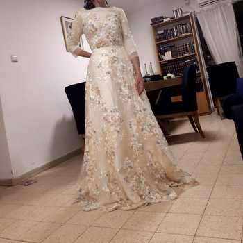 Floral Prom Dresses Walk Beside You Lace 3/4 Sleeves A-line Champagne Belt Empire Waist Long Evening Gowns Vestido De Formatura 4