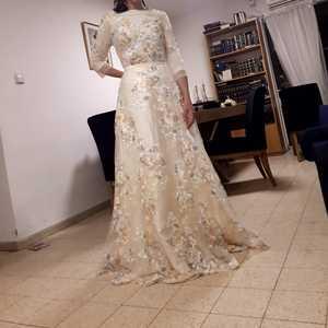 Image 4 - ดอกไม้พรหมชุดเดิน Beside You ลูกไม้ 3/4 แขน A Line แชมเปญเข็มขัดเอวยาว Gowns Vestido De Formatura