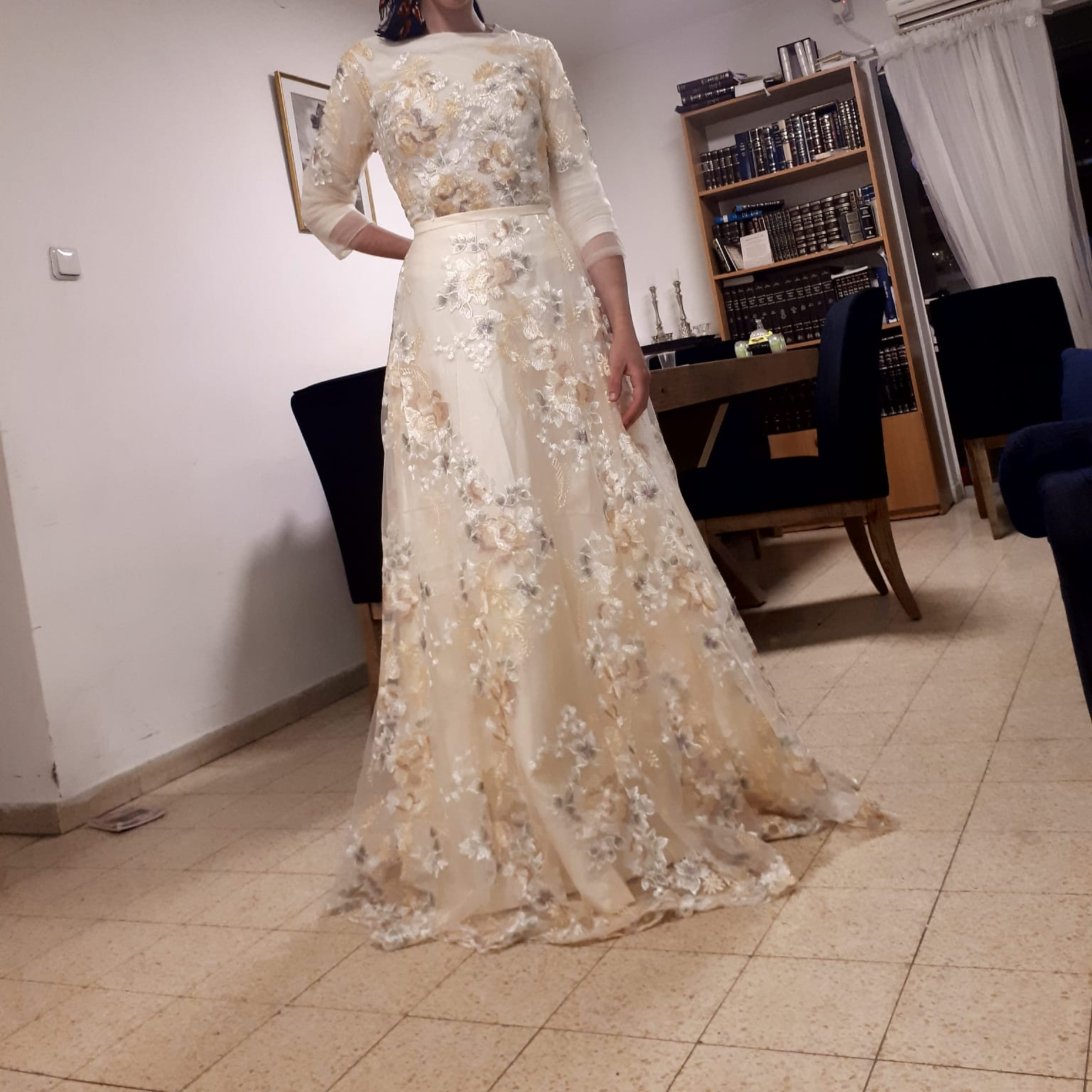 Image 3 - Floral Prom Dresses Walk Beside You Lace 3/4 Sleeves A line Champagne Belt Empire Waist Long Evening Gowns Vestido De Formatura-in Prom Dresses from Weddings & Events