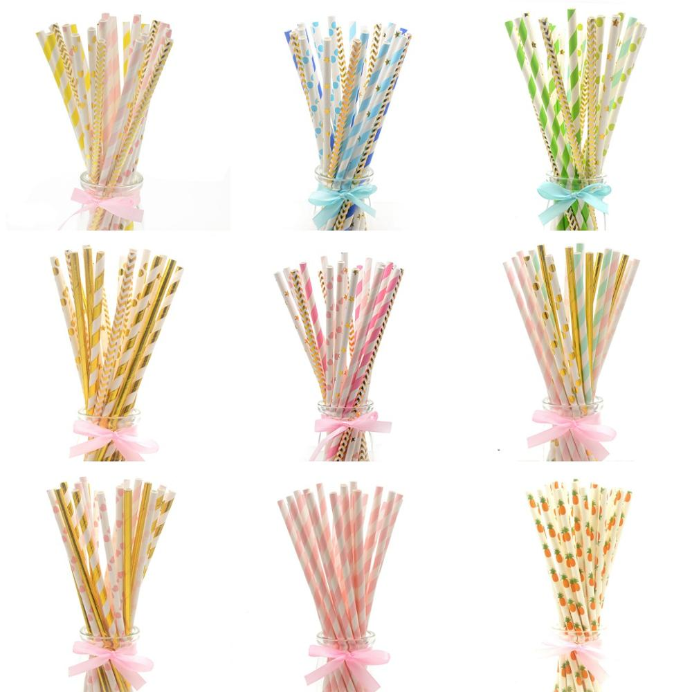 25pcs Mixed Heart Star Paper Straws Birthday Party Decorations Adult Party Drinking Straw Wedding Decor Christmas Party Supplies