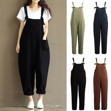 Harem Trousers Tracksuit Overalls Jumpsuit Strap Dungarees Casual Women Sleeveless Bow