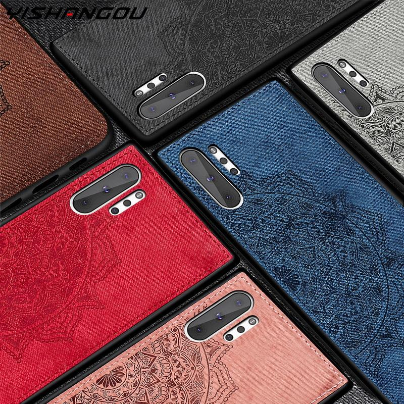 Retro Mandala Fabric Cloth Phone Case For Samsung Galaxy S20 Plus Ultra S10 S9 S8 Plus Note 8 9 10 S10e Hybrid Matte Hard Cases