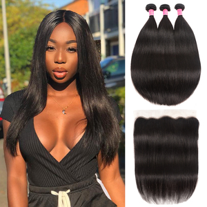 Image 2 - Peruvian Straight Human Hair 3 Bundles With Frontal Pre Plucked Julia Remy Hair 13*4 Ear to Ear Lace Frontal with Hair Bundles