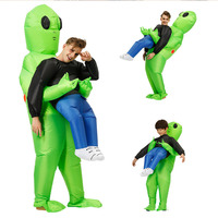 Newly Green Alien Carrying Human Costume Inflatable Funny Blow Up Suit Cosplay for Party Halloween TE889