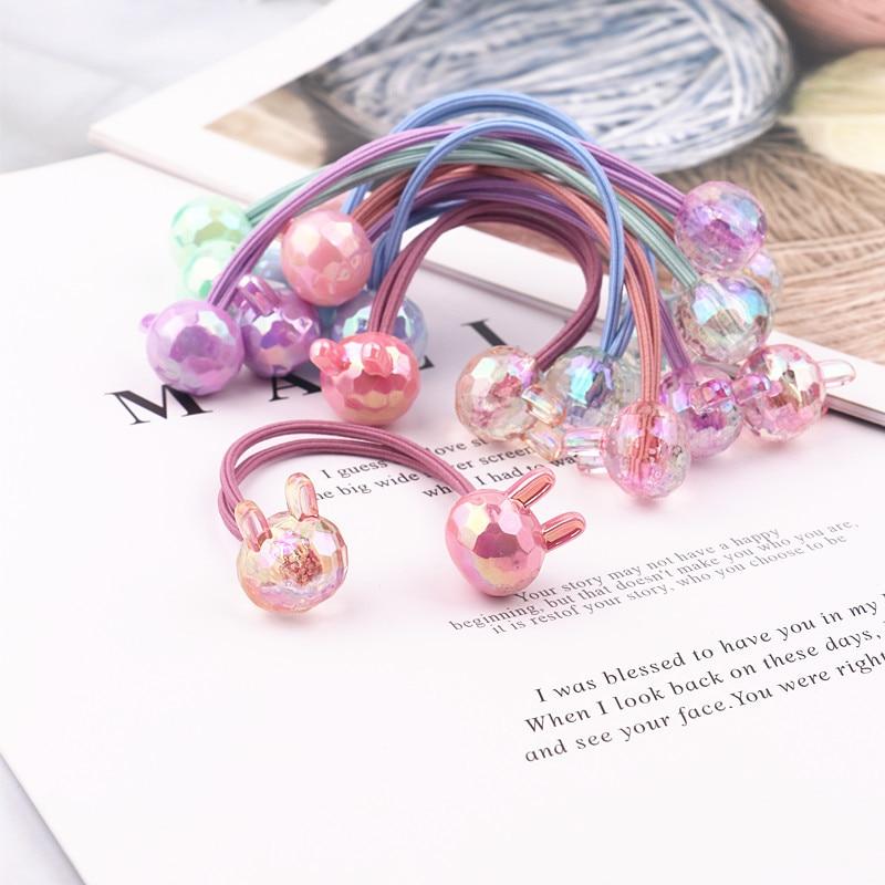 2PCS New Cute Princess Color Double Rabbit Head Headwear Kids Elastic Hair Bands Children Ropes Girls Accessories Baby Headdress