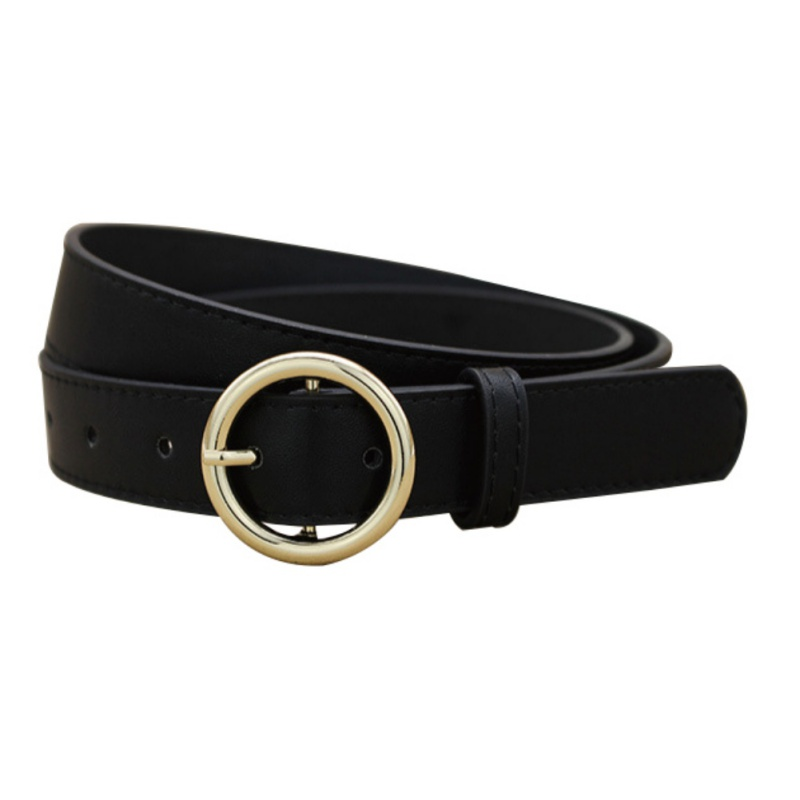 Circle Pin Buckles Belt Female Deduction Side Gold Buckle Jeans Wild Belts For Women Fashion Students Simple Casual Trousers