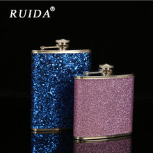 RUIDA 1PC Flask Trustworthy Outdoor Portable Colorful Stainless Steel Hip Liquor Whisky Alcohol Cap Funnel Drinkware Gifts
