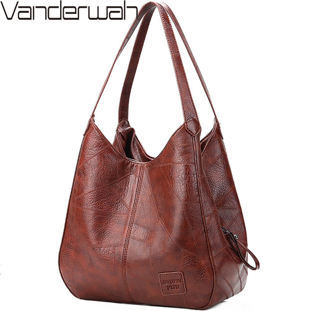 Vintage Leather luxury handbags women bags designer bags famous brand women bags Large Capacity Tote Bags for women sac A Main|Shoulder Bags| - AliExpress