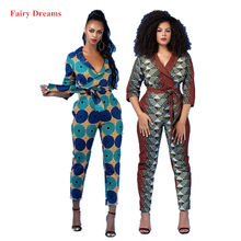 Vrouwen Jumpsuits Traditionele Afrikaanse Kleding Dashiki Ankara Print Zomer Mode Bandage Broek Potlood Broek Fairy Dreams(China)