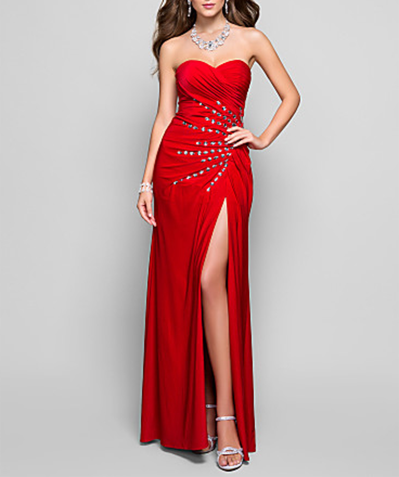 Women Red Crystal   Evening     Dress   Sexy Strapless Backless Sweep Train   Evening   Gowns Elegant Vestido De Noche Con Cristal
