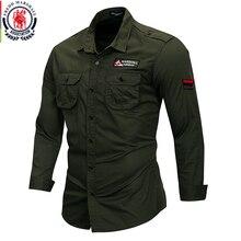 프레드 마샬 2019 새로운 100% 코 튼 군사 셔츠 남자 긴 소매 캐주얼 드레스 셔츠 남성화물 작업 셔츠 자 수 115