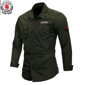 Image 1 - Fredd מרשל 2019 חדש 100% כותנה צבאי חולצה ארוך שרוול מזדמן שמלת חולצה זכר מטען עבודת חולצות עם רקמה 115