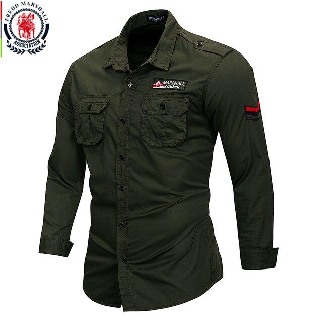 Fredd מרשל 2019 חדש 100% כותנה צבאי חולצה ארוך שרוול מזדמן שמלת חולצה זכר מטען עבודת חולצות עם רקמה 115