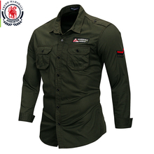 Fredd Marshall 2019 nueva camisa militar 100% algodón hombres manga larga casual vestido camisa masculina cargo trabajo camisas con bordado 115