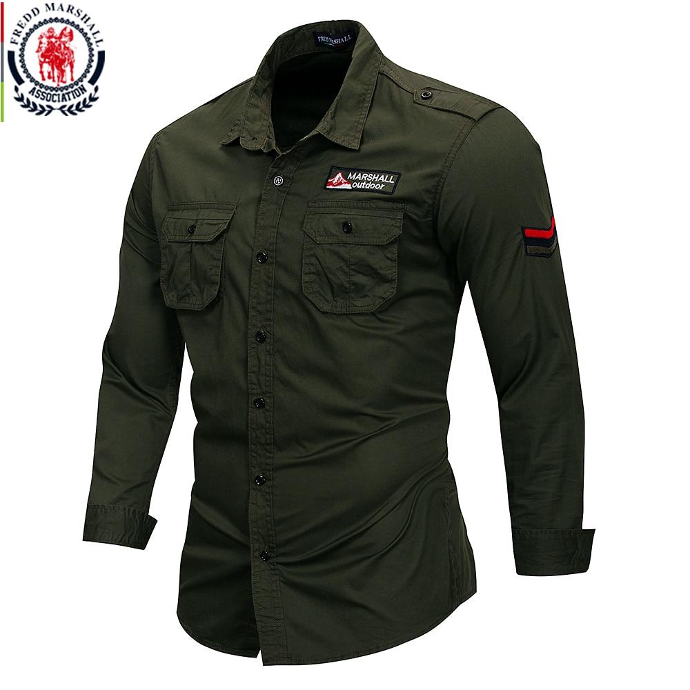 Fredd marshall 2019 novo 100% algodão camisa militar dos homens  de manga longa casual vestido camisa masculina carga trabalho camisas  com bordado 115Camisas casuais