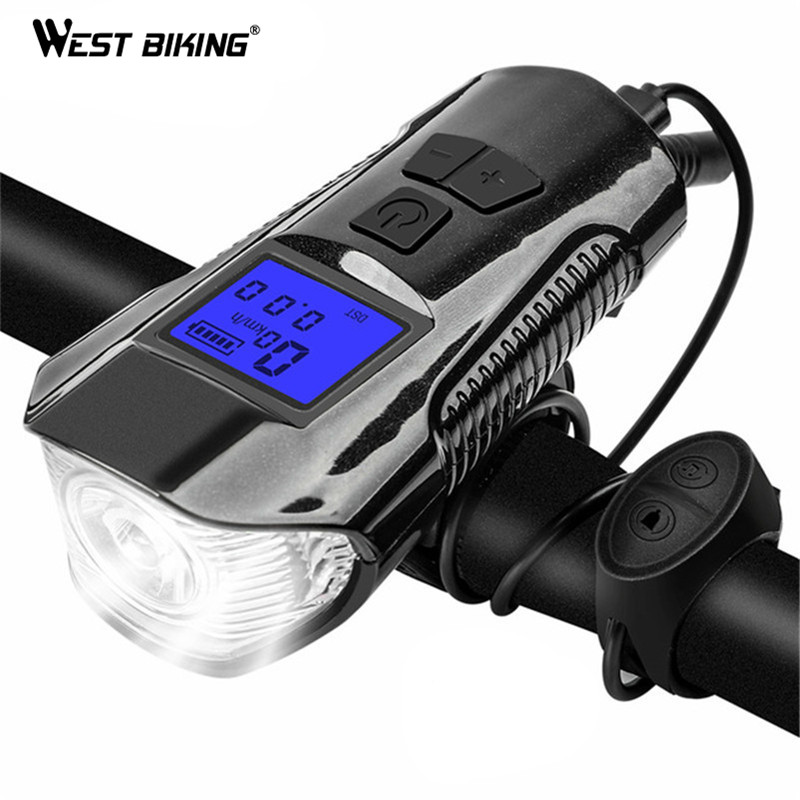 USB Rechargeable LED MTB Bike Bicycle Headlight Taillight Lamp with Horn Speaker