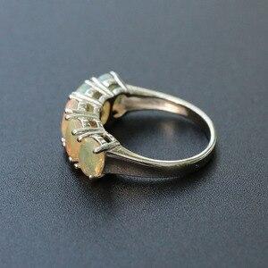 Image 3 - Opale ensemble de bijoux naturel multicolore pierre gemme ovale 5*7mm avec 925 bague en argent sterling et boucle doreille bijoux fins pour femme femme