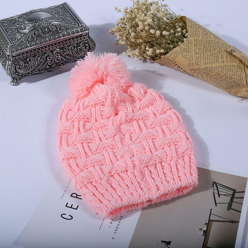 Women Winter Crochet Knit Hat Scarf Set Solid Color Pompom Beanie Cap Neck Shawl 40JF