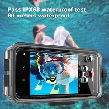 Чехол для смартфона для дайвинга iphone XR Xs Max Iphone 11 Pro Max 7plus 8plus 60M, корпус для подводного телефона с hd объективом, сумка из ЭВА, 1 шт.