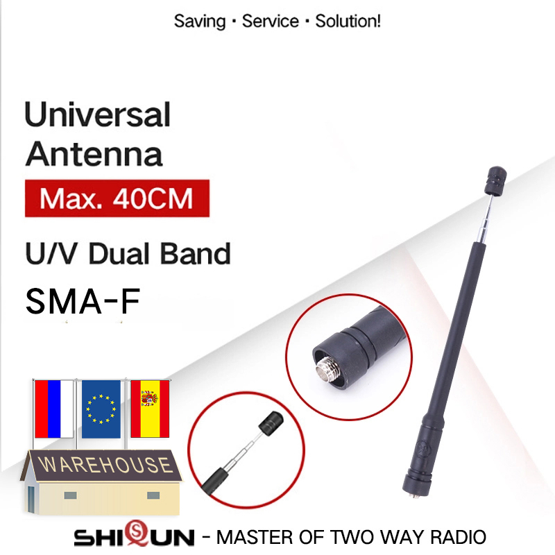 Baofeng Retractable Antenna Telescopic Max 40CM SMA-Female For UV-5R BF-888S UV-9R UV-XR TH-UV8000D MD-380 390 SMA-Male NA-773