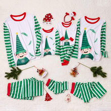 Christmas Cartoon Print Family Pajamas Sets Fashion Casual Christmas Parent-child Set Stripe Print Contrast Loose Two-piece Set contrast binding letter print sheet set