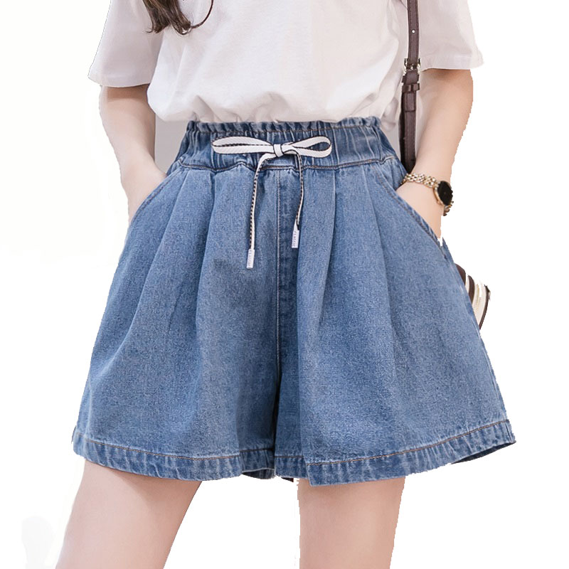 Women Denim Shorts Classic Vintage Elastic High Waist Blue Fashion Female Plus Size Loose Casual Wide Leg Tether Jeans