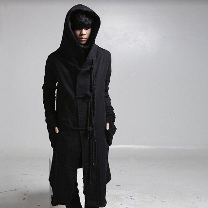 Winter Men Linen Rope Button Hip Hop Long Hoodie Gothic Hooded Cloak Nightclub DJ Singer Punk Rock Stage Costume Fleece Hoodies
