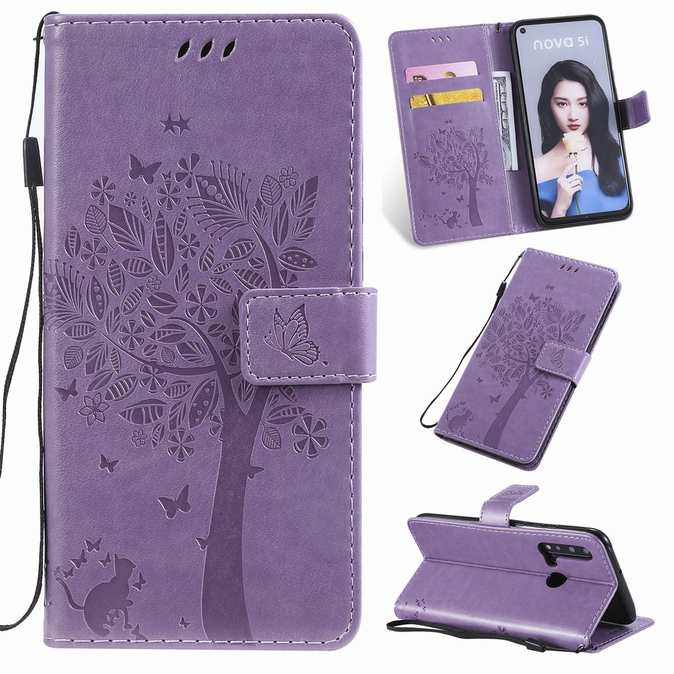 Flip Phone Bags For <font><b>Case</b></font> <font><b>OPPO</b></font> Realme 3 5 6 Pro A8 A31 A5 A7 A9 2020 A3S <font><b>A5S</b></font> F11 Find X2 Pro Cat Tree Embossing Cover <font><b>Wallet</b></font> D06F image