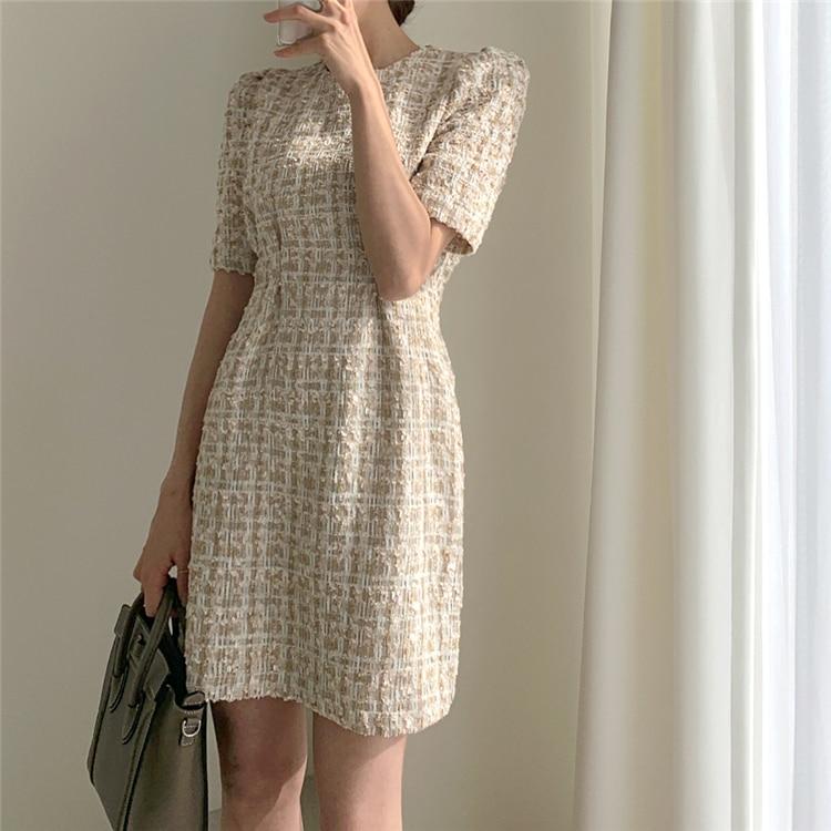 High Waist Casual Puff Sleeve Plaid Elegant Vintage Mini Dress 12