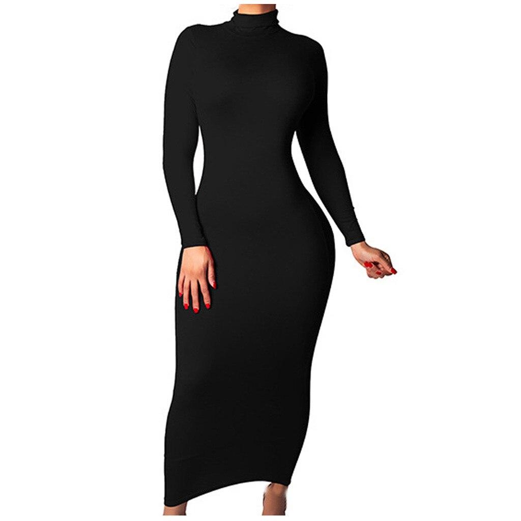 Sexy Women Dresses Turtleneck High Waist Tight Bag Hip Maxi Dress Autumn Winter Female Solid Long Sleeve Dresses  #Zer