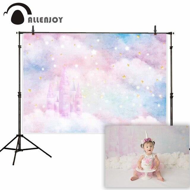 Allenjoy sfondi per studio fotografico glitter stars castello nuvole colorate del bambino doccia sfondo festa di compleanno photocall