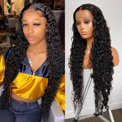 8-26 Inches Lace Front Human Hair Wig Water Wave 4X4 Lace Closure Wig Density 150% Wavy And Wet Lace Front Wig For Black Women