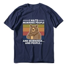 Camiseta masculina do vintage XS-3XL dos homens do vintage do urso do acampamento do algodão eu odeio a manhã
