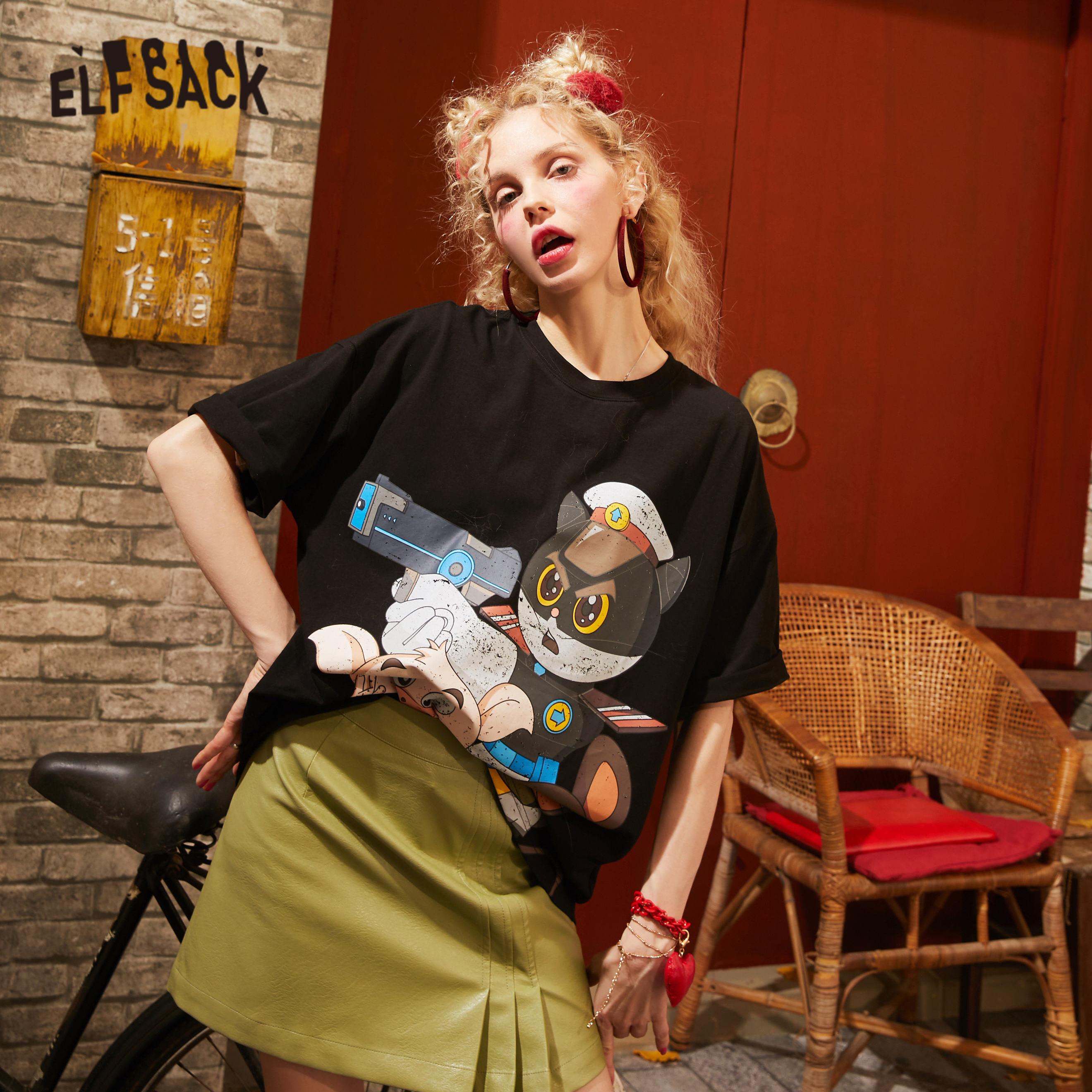 ELFSACK Black Solid Cartoon Print Casual T Shirts Women 2020 Spring New Short Sleeve Korean Style Ladies Basic Daily Tops