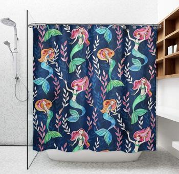 Cortinas de ducha a prueba de agua-respetuoso con el medio ambiente y mantenimiento fácil tela poliéster baño bañera ducha cortinas pequeñas sirenas,