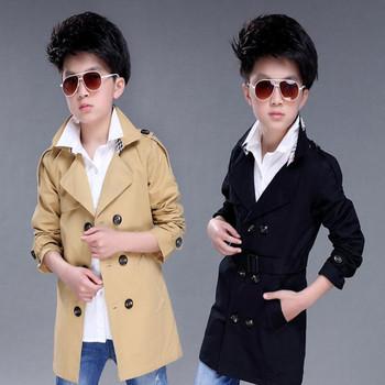 2018 wiosenny i jesienny płaszcz dziecięcy duży chłopiec koreańska wersja wiatrówka chłopięca długi płaszcz odzież dziecięca chłopięca tanie i dobre opinie CN (pochodzenie) Stałe Moda long COTTON Skręcić w dół kołnierz Kurtki płaszcze Pełna Pasuje prawda na wymiar weź swój normalny rozmiar