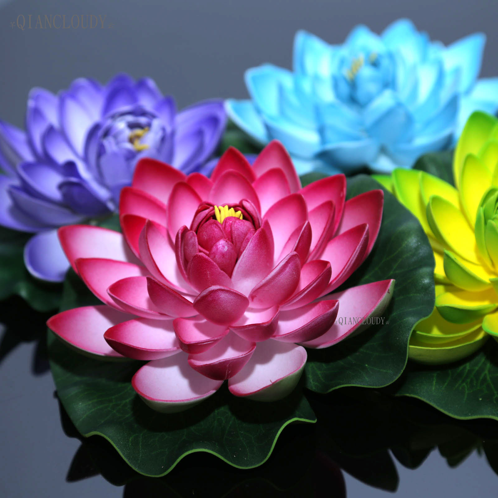 Artificial Fake Lotus Lily leaf flowers Water POOL Floating pond flowers wedding decoration Garden 17CM B12(China)