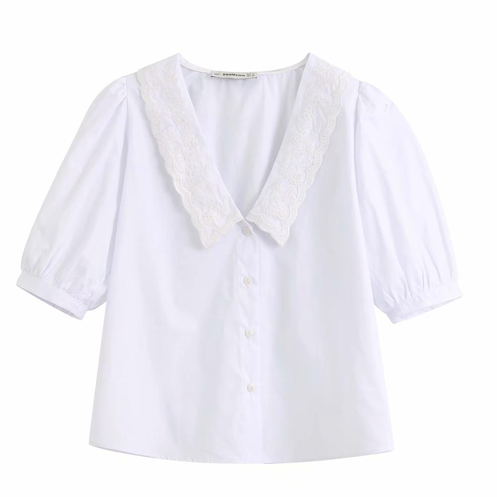 New Women Embroidery Turn Down Collar Casual White Smock Blouse Office Lady Chic Short Sleeve Femininas Shirts Brand Tops LS6381