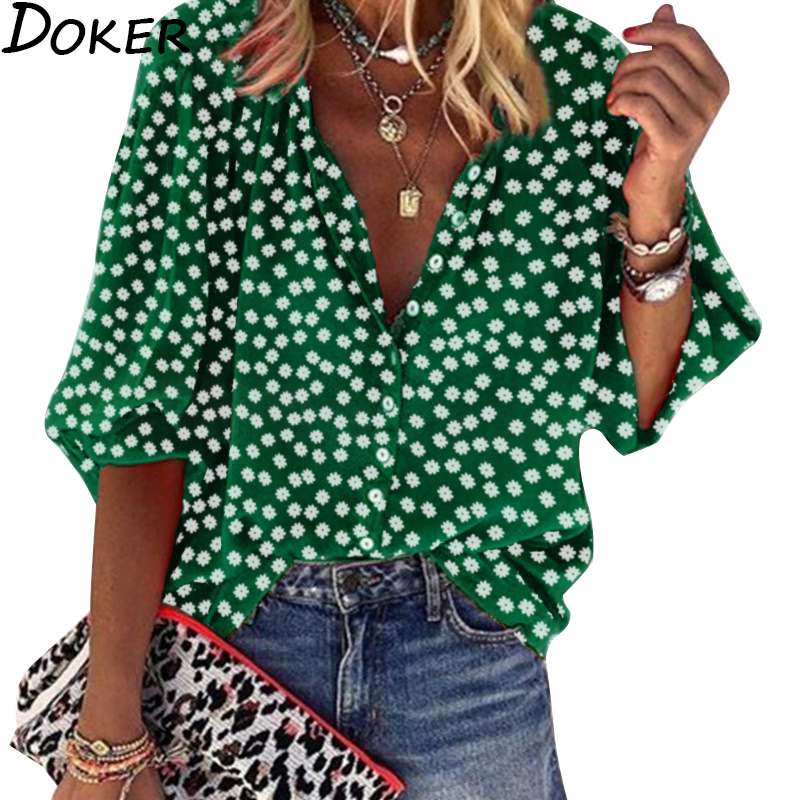 Womens Tops And Blouses 2020 New Summer Floral V-neck Long Sleeve Casual Office Blouse Streetwear Plus Size Tops Women Shirts