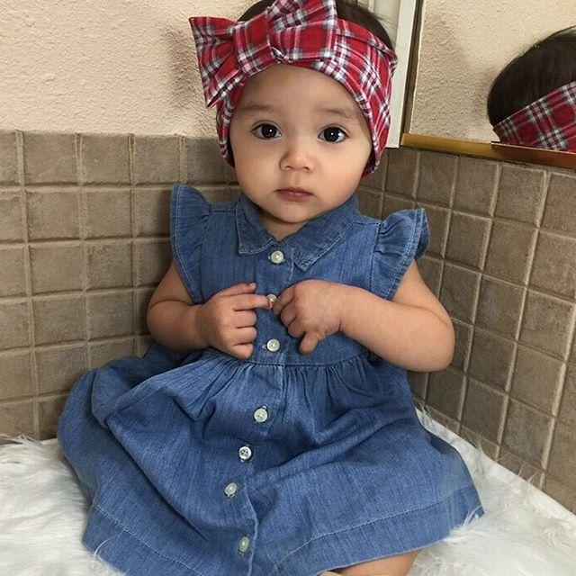 US STOCK Toddler Baby Kids Girls Ruffles Sleeveless Denim Blue Dress Clothes New