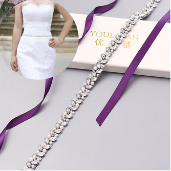 TOPQUEEN S383-S Wedding Dress Belt Pearl Silver Diamond Belt  Luxury Rhinestone Belt  Rhinestone Trim Applique Bridal Belt