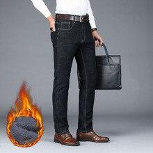 NIGRITY мужские новые теплые фланелевые джинсы, Стрейчевые повседневные Прямые джинсы из флиса, мягкие брюки размера плюс 29 44, 2 цвета, 2019
