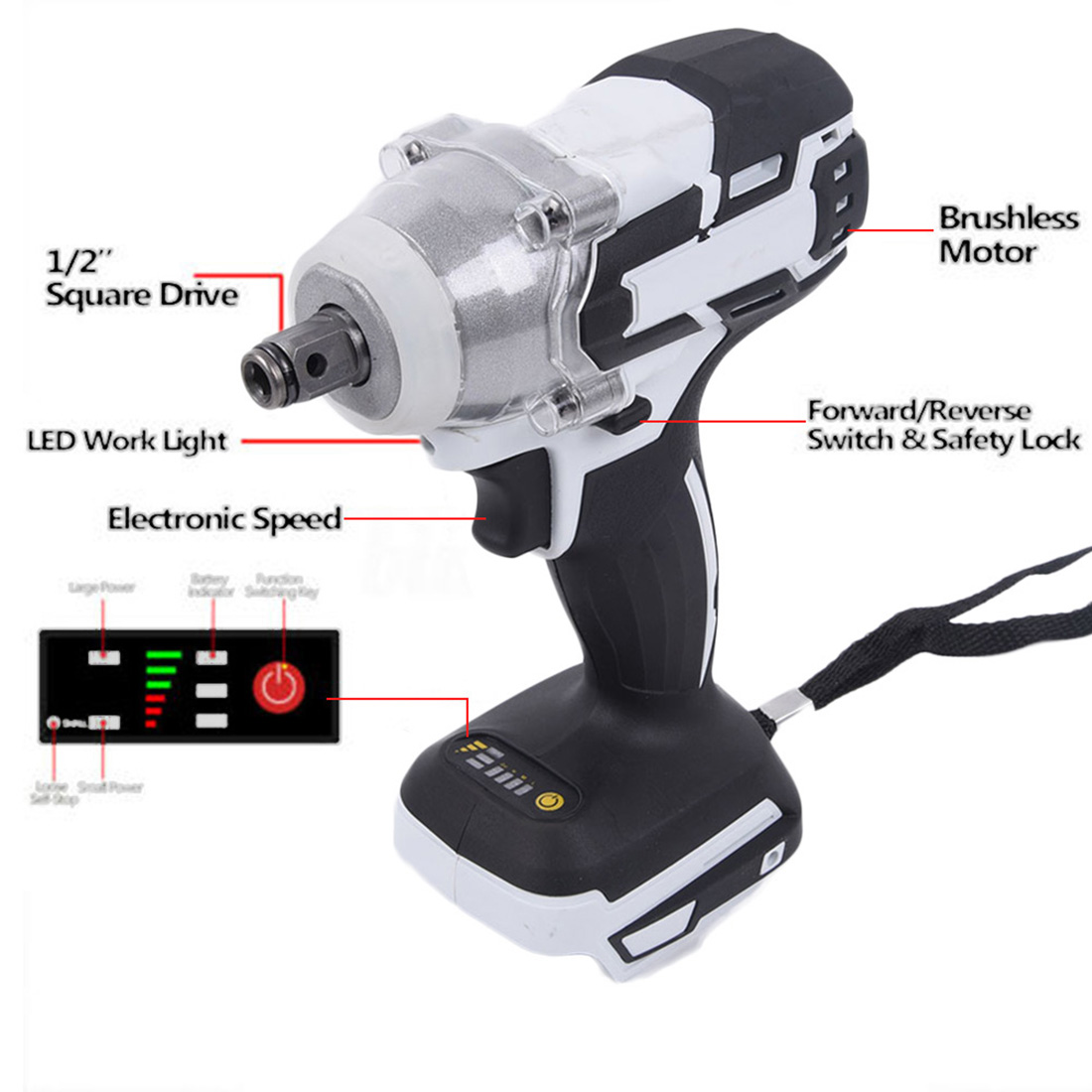 18V 520Nm Cordless Brushless Impact Electric Wrench Body No Batteries For Makita Battery For Construction Site Shelves